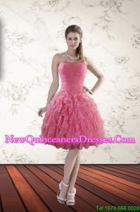 2015 New Style Strapless Dama Dresses with Beading and Ruffles