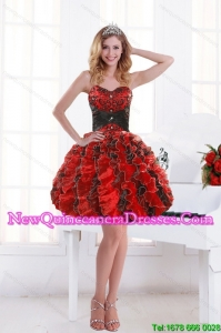 2015 Unique Sweetheart Beading and Ruffles Dama Dresses with Ruffles