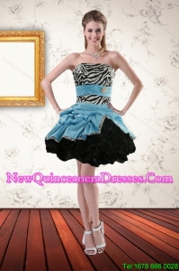 Cheap 2015 Zebra Printed Strapless Dama Dresses with Ruffles and Pick Ups
