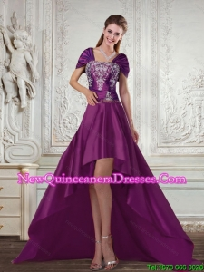 Cheap Purple High Low Strapless Embroidery Dama Dresses for 2015