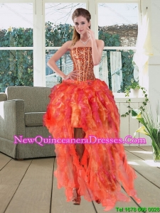 Cheap High Low Multi Color Strapless Dama Dresses with Beading and Ruffles