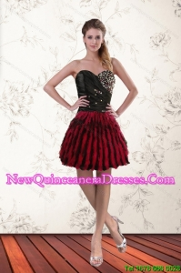 Cheap Multi Color Sweetheart Dama Dresses with Ruffles and Beading