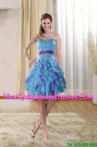Cheap Sweetheart 2015 Dama Dresses with Ruffles and Beading