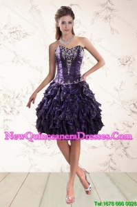 Cheap Sweetheart Appliques and Ruffles Dama Dresses for 2015