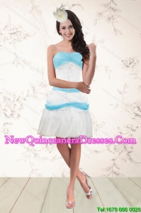 Cheap White and Baby Blue Strapless Dama Dresses for 2015