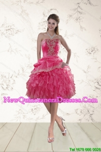 Coral Red Strapless Dama Dresses with Appliques and Ruffles for 2015