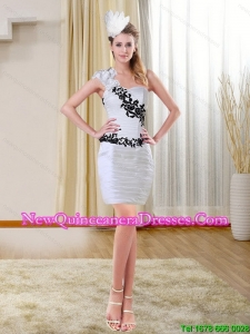 2015 Cheap Column Short Sweetheart White Dama Dresses with Embroidery