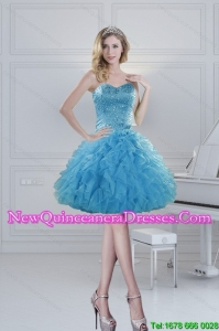 2015 Cheap Sweetheart Baby Blue Beading Dama Dresses for Spring