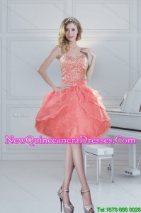2015 Cheap Sweetheart Watermelon Dama Dresses with Beading