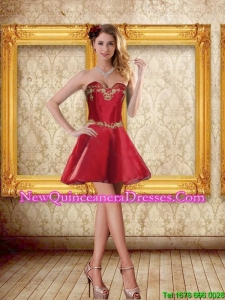 2015 Cheap Sweetheart Wine Red Short Dama Dresses with Beading
