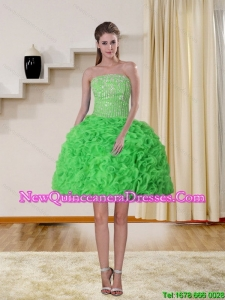 2015 Gorgeous Spring Green Strapless Dama Dresses with Beading and Ruffles