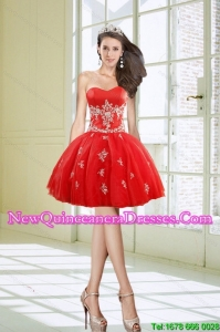 Cheap Short Sweetheart Appliques Red Dama Dresses for 2015