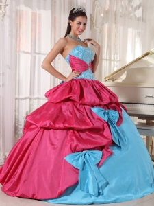 Brand New Aqua Blue and Hot Pink Quinceanera Dress Sweetheart Taffeta Appliques Ball Gown