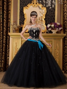 Elegant Black Quinceanera Dress Strapless Appliques Tulle Ball Gown