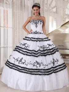 376.34  168.32  Impression White and Black Quinceanera Dress Sweetheart  Floor-length Tulle Embroidery Ball Gown c332cb55023a