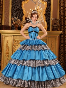 Popular Teal Quinceanera Dress Sweetheart Taffeta and Zebra Ruffles Ball Gown