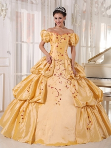 Populor Gold Quinceanera Dress Off The Shoulder Taffeta Embroidery Ball Gown