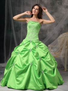 Spring Green Ball Gown Strapless Floor-length Taffeta Beading Quinceanera Dress