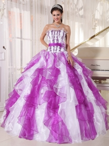 Beautiful Colorful Quinceanera Dress Strapless Organza Beading Ball Gown