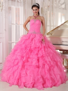 Inexpensive Rose Pink Quinceanera Dress Strapless Organza Beading Ball Gown