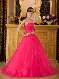 Low Price Hot Pink Sweet 16 Dress Strapless Tulle Appliques A-line / Princess