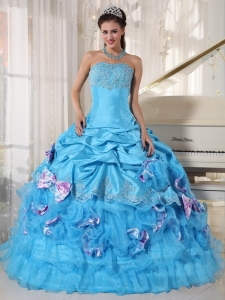 Romantic Aqua Quinceanera Dress Strapless Organza and Taffeta Appliques Ball Gown