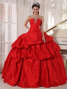 Vintage Red Quinceanera Dress Sweetheart Taffeta Beading Ball Gown