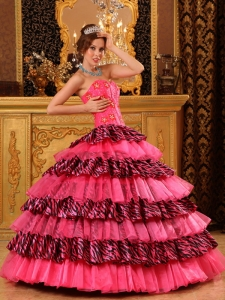 Beautiful Quinceanera Dress Ball Gown Sweetheart Organza and Zebra Beading