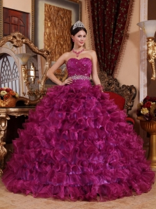 Brand New Fuchsia Quinceanera Dress Sweetheart Organza Beading Ball Gown