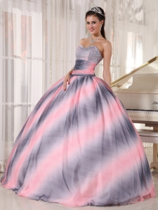 Classical Ombre Color Quinceanera Dress Sweetheart Chiffon Beading and Ruch Ball Gown