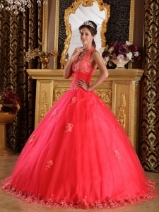 Gorgeous Coral Red Quinceanera Dress Halter Appliques Tulle Ball Gown