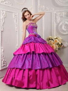 Gorgeous Multi-color Quinceanera Dress Strapless Taffeta Appliques Ball Gown