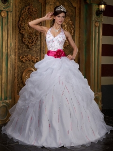 Impression White Sweet 16 Dress Halter Organza Beading A-line