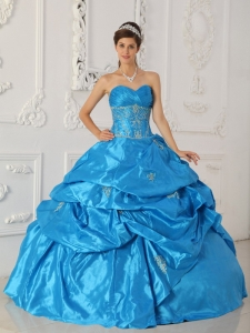 Low Price Blue Quinceanera Dress Sweetheart Taffeta Appliques Ball Gown