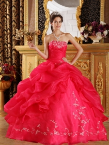 New Coral Red Sweet 16 Dress Strapless Embroidery Organza Ball Gown