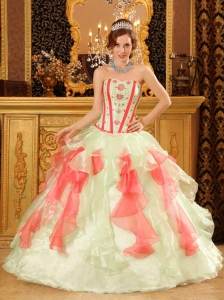 Perfect Multi-Color Quinceanera Dress Sweetheart Organza Appliques Ball Gown Flowers Appliques Designer