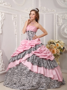 Romantic Pink Zebra Ball Gown Strapless Taffeta and Beading Quinceanera Dress