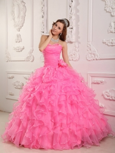 Romantic Rose Pink Quinceanera Dress Sweetheart Organza Beading Ball Gown