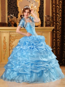 Sweet Baby Blue Quinceanera Dress Sweetheart Organza Appliques Ball Gown