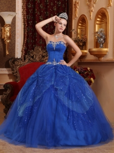 Affordable Blue Quinceanera Dress Sweetheart Tulle Beading and Appliques Ball Gown