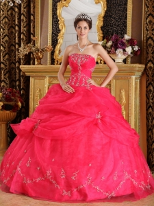 Best Coral Red Sweet 16 Dress Strapless Organza Appliques Ball Gown
