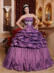 Brand New Purple Quinceanera Dress Strapless Taffeta Appliques Ball Gown