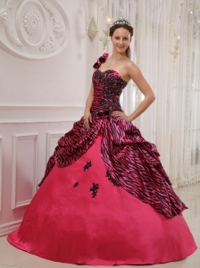 Cheap Hot Pink Quinceanera Dress One Shoulder Zebra Appliques Ball Gown