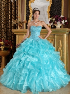 Discount Aqua Blue Quinceanera Dress Sweetheart Ruffles Organza Ball Gown