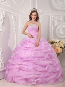 Exclusive Pink Quinceanera Dress Strapless Organza Appliques Ball Gown