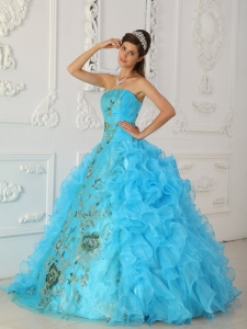 Exquisite Aqua Blue Quinceanera Dress Strapless Embroidery Ball Gown