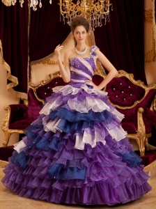 Gorgeous Perfect Quinceanera Dress One Shoulder Ruffles A-line / Princess