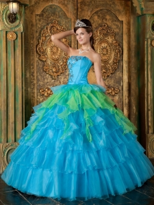 Inexpensive Organza Ruffles Strapless Blue Quinceanera Gown For Guests