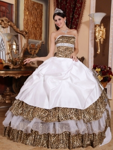 Informal White Quinceanera Dress Strapless Leopard Beading Ball Gown