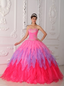 Lovely Hot Pink Quinceanera Dress Sweetheart Organza Beading and Ruch Ball Gown